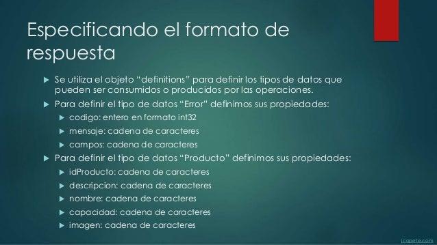 """Especificando el formato de respuesta  Se utiliza el objeto """"definitions"""" para definir los tipos de datos que pueden ser ..."""