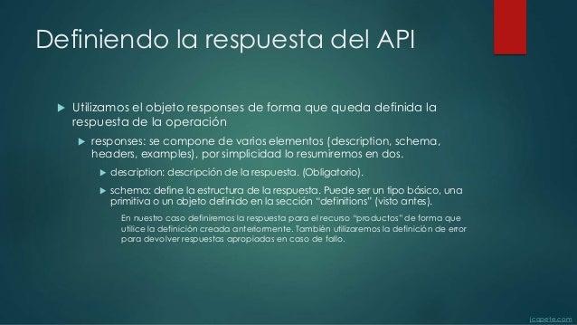Definiendo la respuesta del API  Utilizamos el objeto responses de forma que queda definida la respuesta de la operación ...
