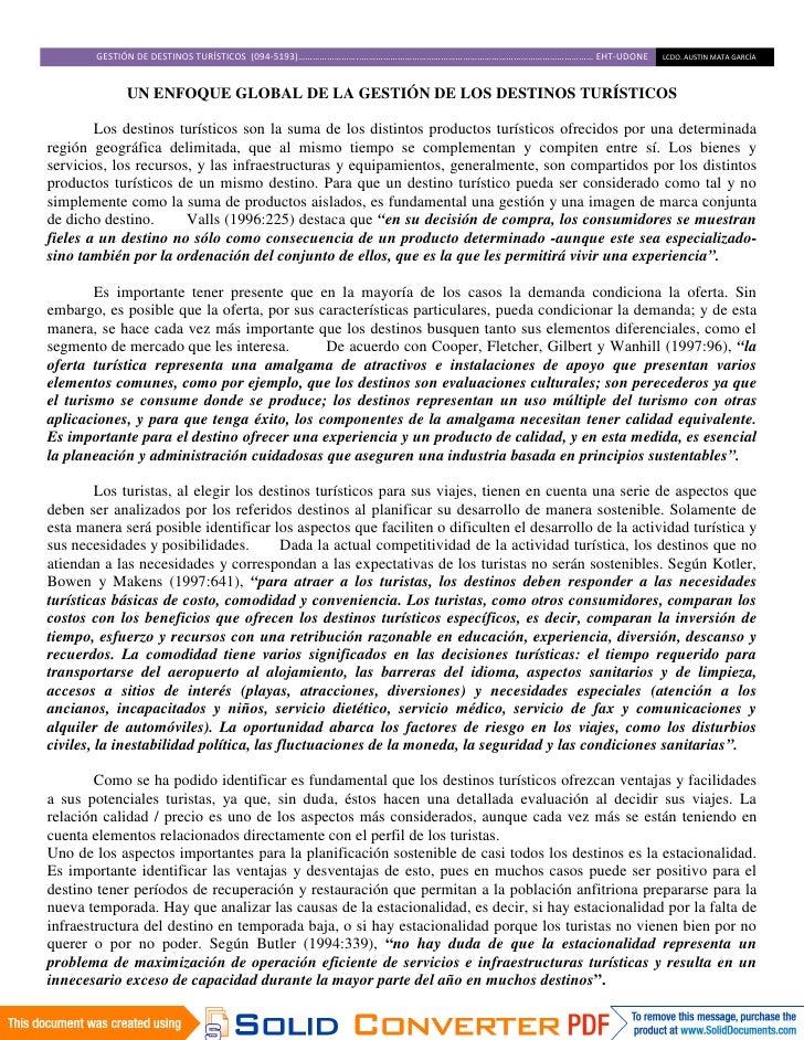 GESTIÓN DE DESTINOS TURÍSTICOS (094-5193)……………………..…………………………………………………………………………………… EHT-UDONE   LCDO. AUSTIN MATA GARCÍA  ...