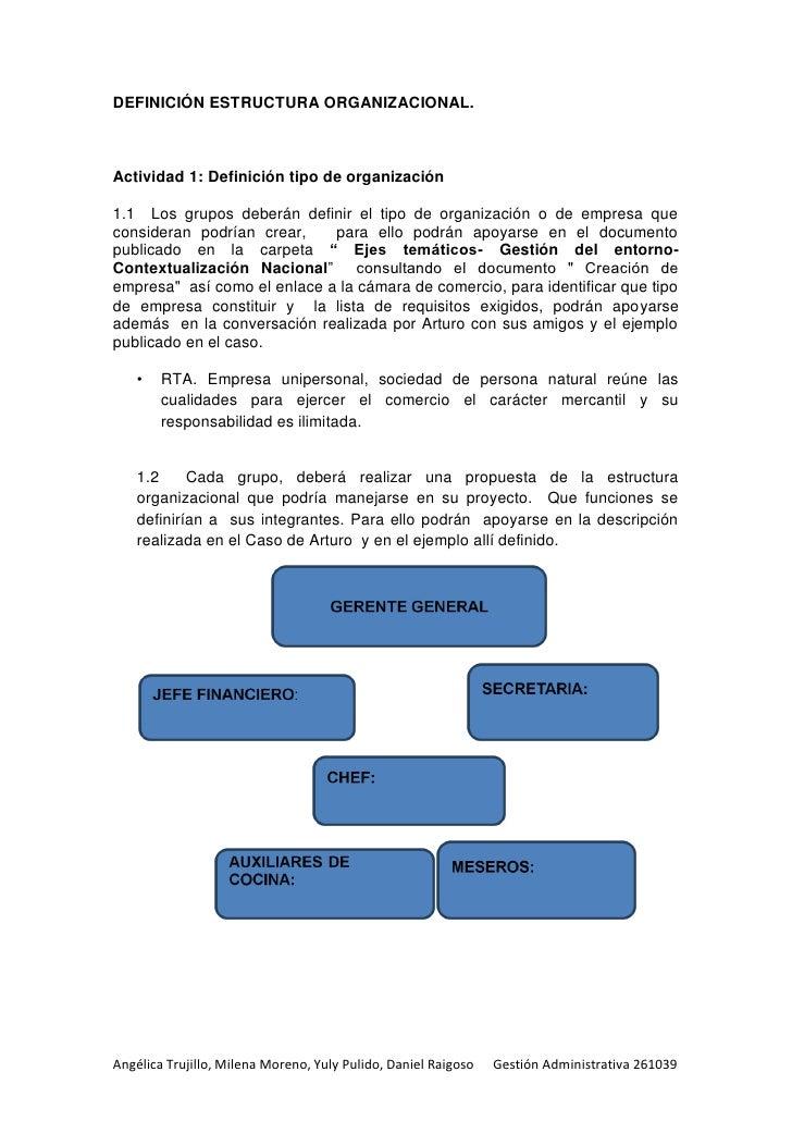 DEFINICIÓN ESTRUCTURA ORGANIZACIONAL.Actividad 1: Definición tipo de organización1.1 Los grupos deberán definir el tipo de...