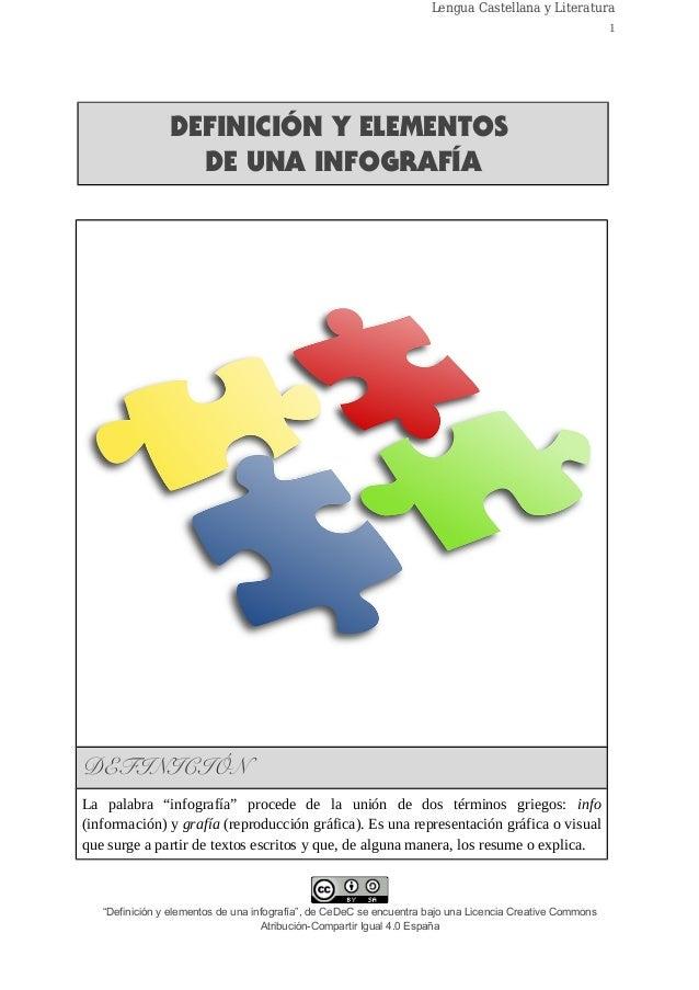 """Lengua Castellana y Literatura 1 DEFINICIÓN Y ELEMENTOS DE UNA INFOGRAFÍA DEFINICIÓN La palabra """"infografía"""" procede de la..."""