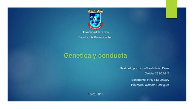 Universidad Yacambu Facultad de Humanidades Genética y conducta Realizado por: Linda Sarahi Niño Pérez Cedula: 25.602.613 ...