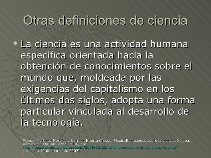 Definicion ciencia y tecnolog a for Definicion de gastronomia pdf