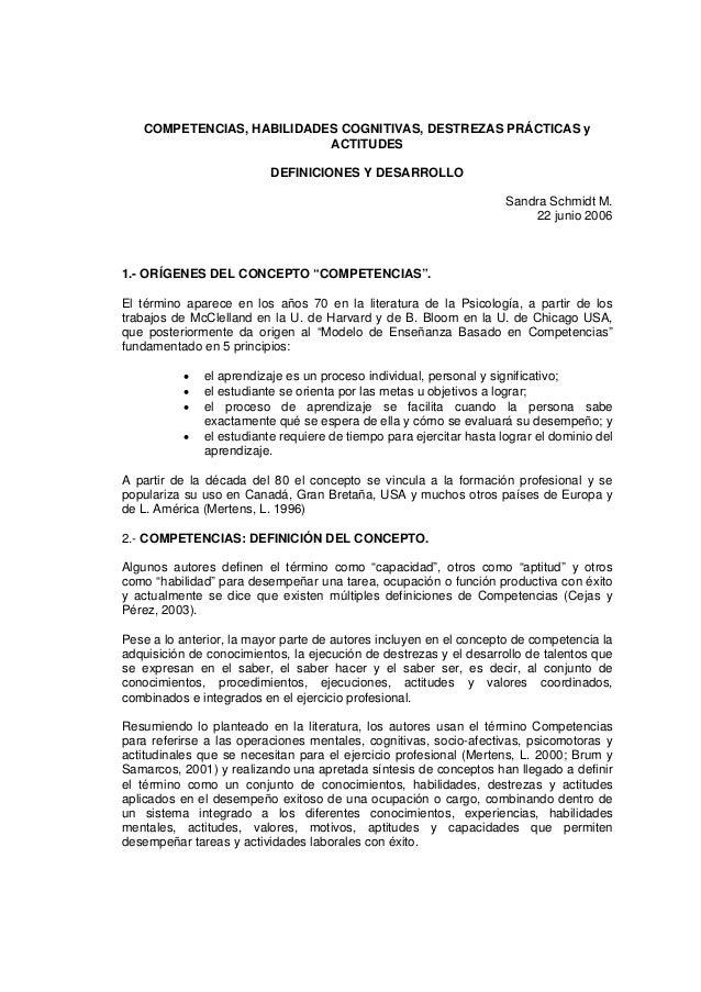 COMPETENCIAS, HABILIDADES COGNITIVAS, DESTREZAS PRÁCTICAS y                           ACTITUDES                          D...
