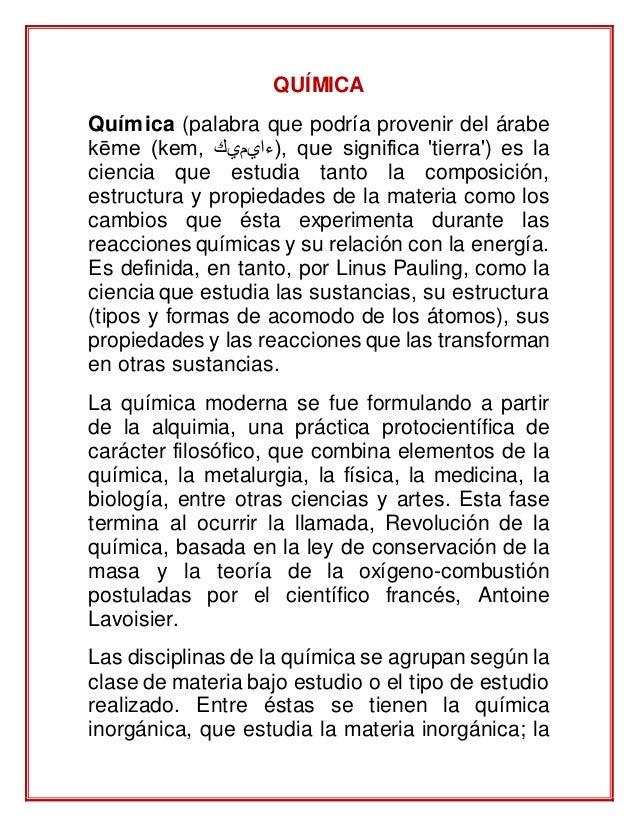 Definicion de quimica for La quimica en la gastronomia