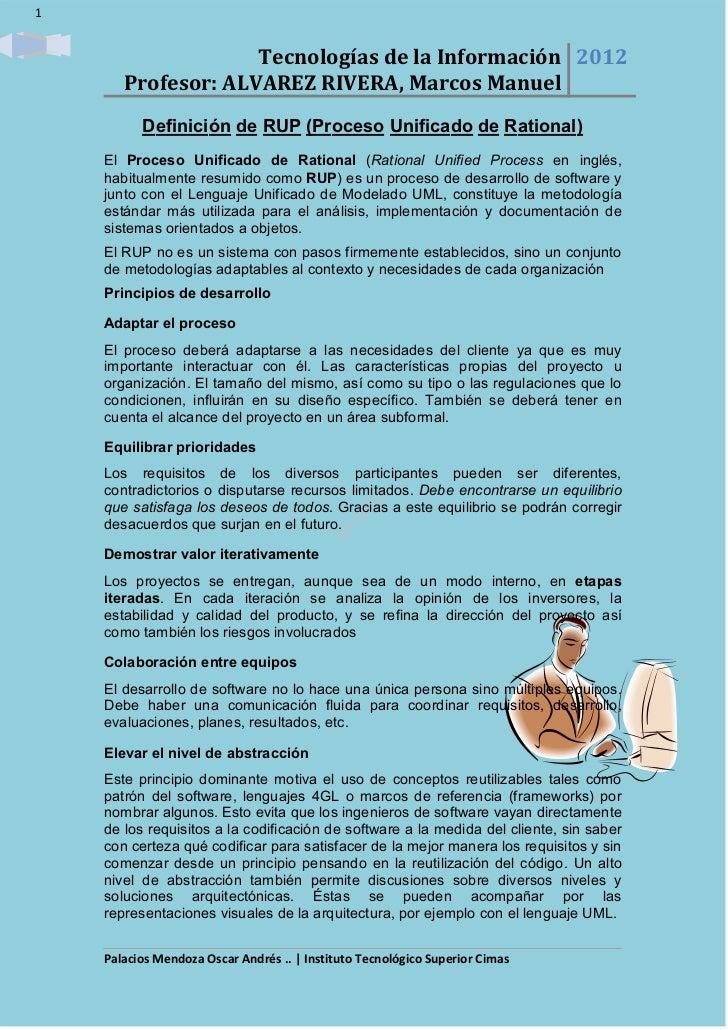 1                               Tecnologías de la Información 2012                                 Profesor: ALVAREZ RIVER...