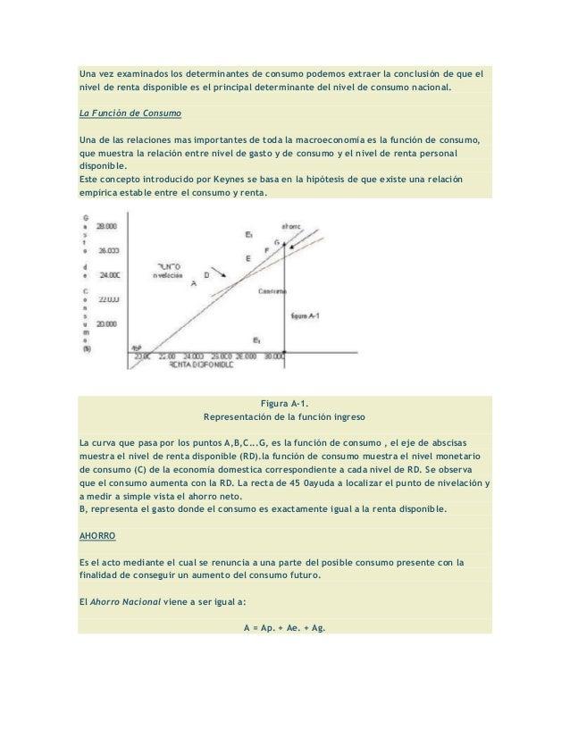 Una vez examinados los determinantes de consumo podemos extraer la conclusión de que elnivel de renta disponible es el pri...