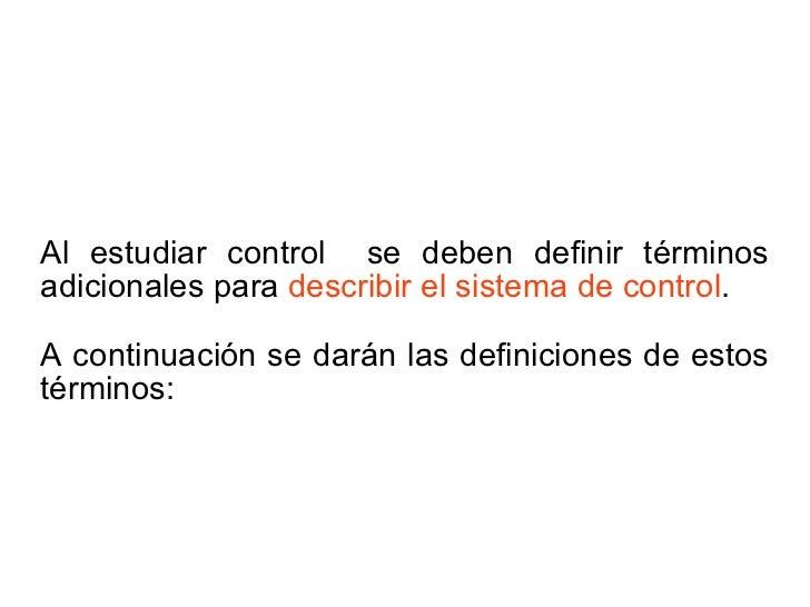 Definiciones de Control Slide 3