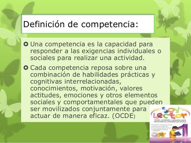 Definiciones de competencia según diferentes autores Slide 3