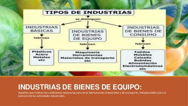 INDUSTRIAS DE BIENES DE EQUIPO: Aquellas que realizan las condiciones necesarias para otras fabricaciones industriales y d...