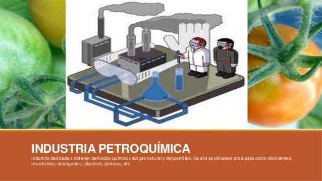 INDUSTRIA PETROQUÍMICA Industria dedicada a obtener derivados químicos del gas natural y del petróleo. De ella se obtienen...