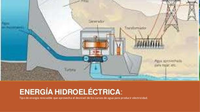 ENERGÍA HIDROELÉCTRICA: Tipo de energía renovable que aprovecha el desnivel de los cursos de agua para producir electricid...