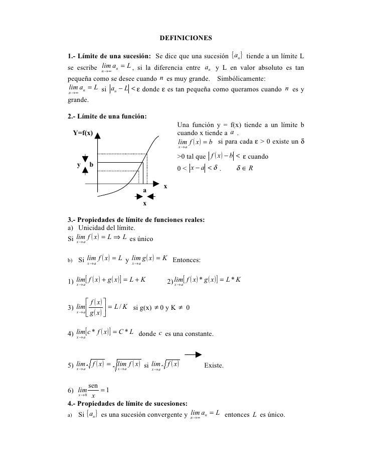 DEFINICIONES  1.- Límite de una sucesión: Se dice que una sucesión { an } tiende a un límite L se escribe n → ∞ an = L , s...