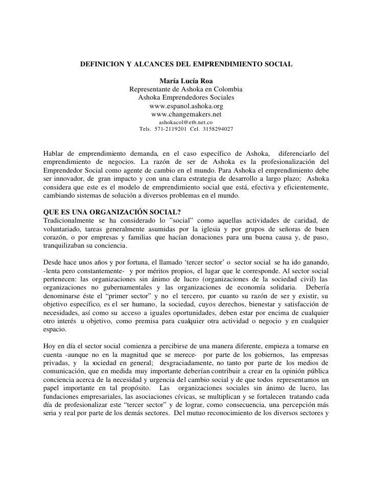 DEFINICION Y ALCANCES DEL EMPRENDIMIENTO SOCIAL                                      María Lucía Roa                      ...