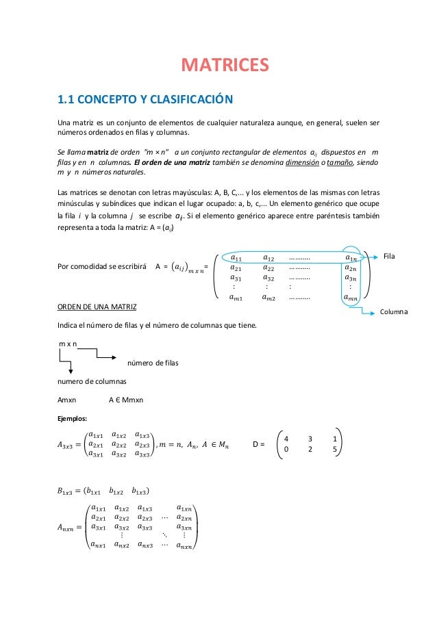 MATRICES1.1 CONCEPTO Y CLASIFICACIÓNUna matriz es un conjunto de elementos de cualquier naturaleza aunque, en general, sue...