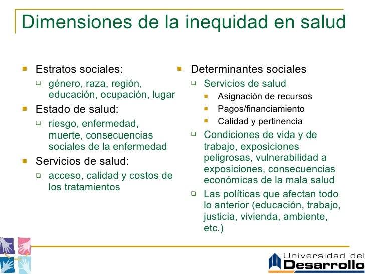 Dimensiones de la inequidad en salud <ul><li>Estratos sociales: </li></ul><ul><ul><li>género, raza, región, educación, ocu...