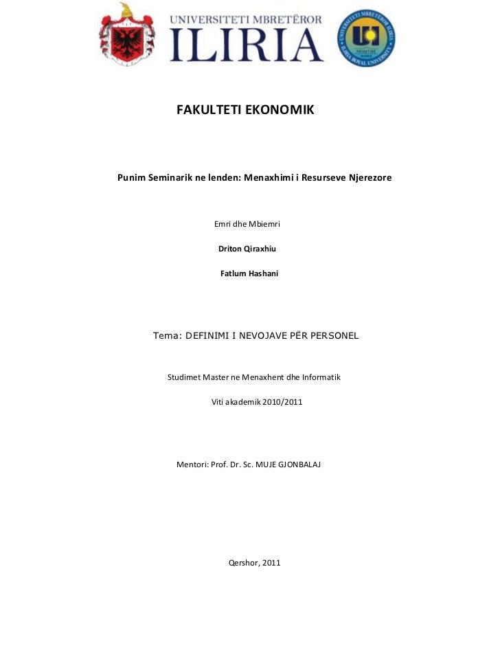 591185-906780<br />                            FAKULTETI EKONOMIK<br />Punim Seminarik ne lenden: Menaxhimi i Resurseve Nj...