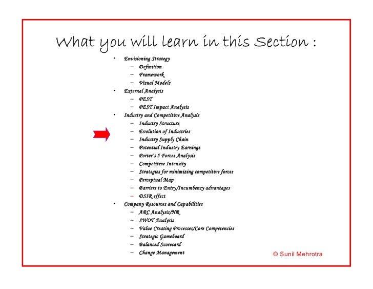What you will learn in this Section ? <ul><li>Envisioning Strategy </li></ul><ul><ul><li>Definition </li></ul></ul><ul><ul...