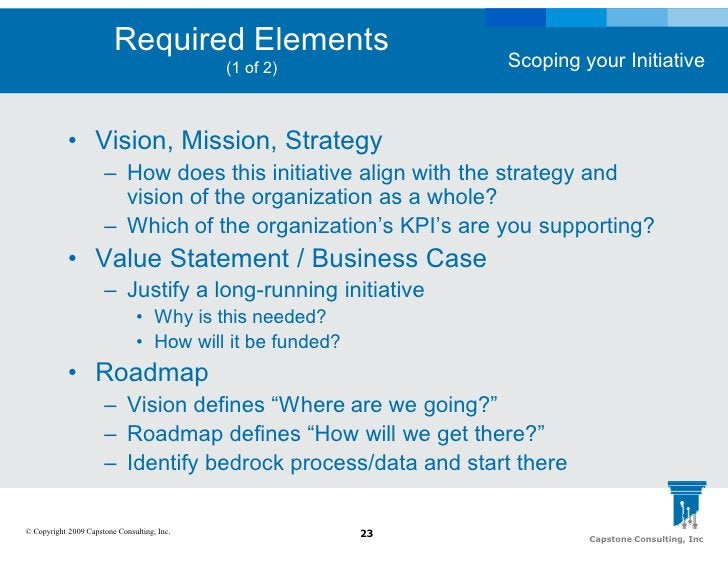 Required Elements                                                                 Scoping your Initiative                 ...