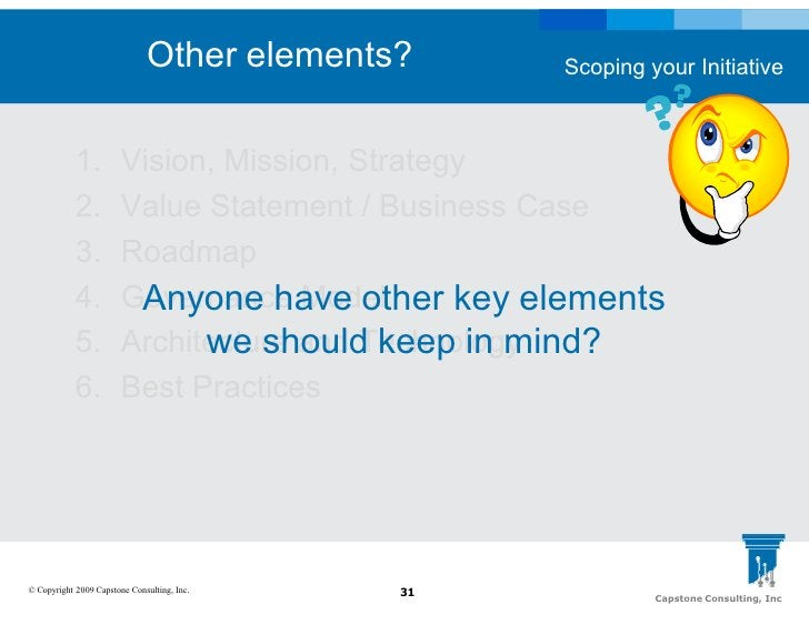 Other elements?     Scoping your Initiative                1.          Vision, Mission, Strategy             2.          V...