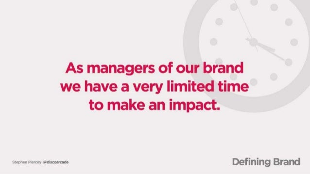 As managers of our brand we have a very Iimitedrtime to make an impact;   www man« Defining Brand