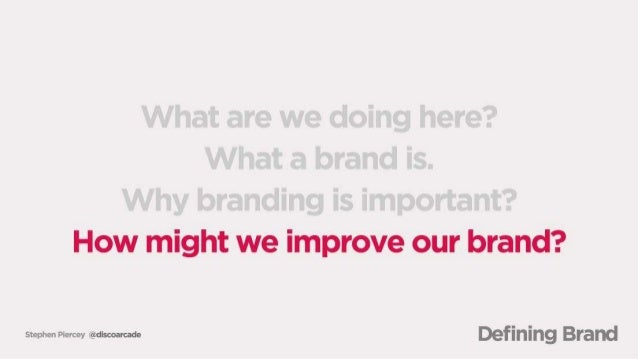 What are we doing here?  What a brand is.  Why branding is important?  How might we improve ; our brand?   www-w man« Defi...