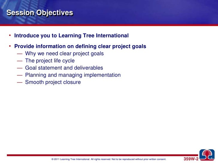 Defining clear project goals Slide 2