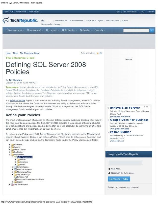 Defining SQL Server 2008 Policies   TechRepublic   ZDNet Asia    SmartPlanet    TechRepublic                              ...