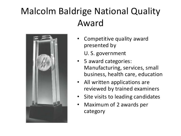 malcolm baldrige national quality program paper The malcolm baldrige national quality award (mbnqa) is awarded to us companies that have successfully implemented quality-management systems, based on achievement and improvement in seven areas, known as the baldrige criteria for performance excellence.