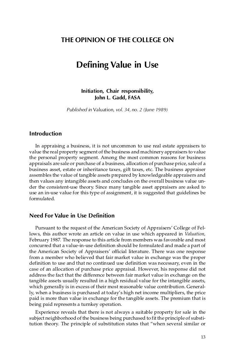THE OPINION OF THE COLLEGE ON                      Defining Value in Use                         Initiation, Chair respons...
