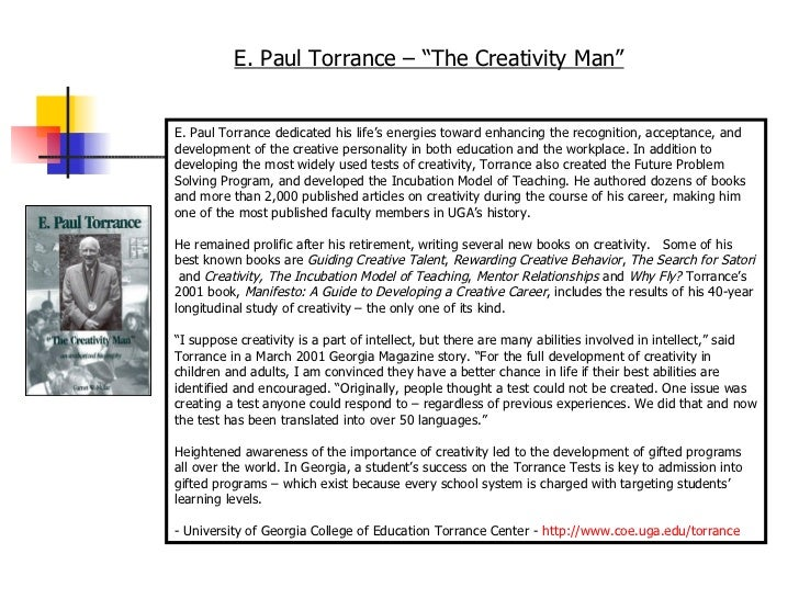 Defining & Valuing Creativity According to Torrance