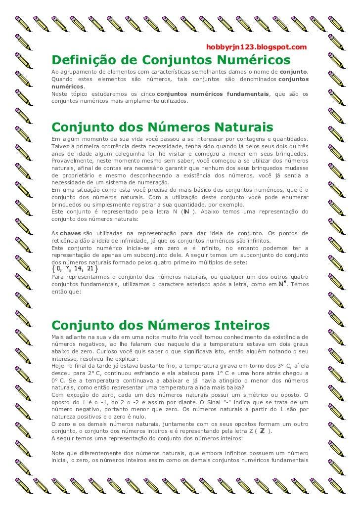 hobbyrjn123.blogspot.comDefinição de Conjuntos NuméricosAo agrupamento de elementos com características semelhantes damos ...