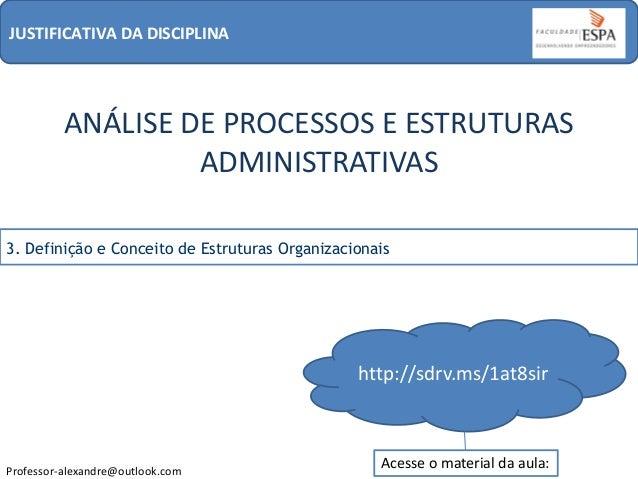 JUSTIFICATIVA DA DISCIPLINA  ANÁLISE DE PROCESSOS E ESTRUTURAS ADMINISTRATIVAS 3. Definição e Conceito de Estruturas Organ...