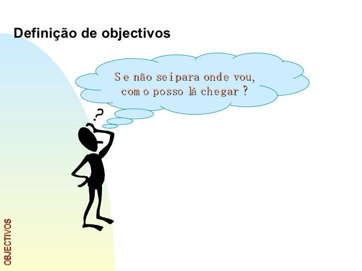 OBJECTIVOS Definição de objectivos Se não sei para onde vou, como posso lá chegar ?