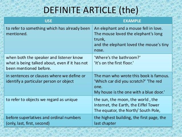 Definite and indefinite articles by lipovac tatjana
