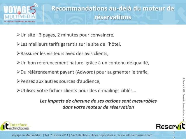 Recommandations au-delà du moteur de réservations Un site : 3 pages, 2 minutes pour convaincre, Les meilleurs tarifs gar...