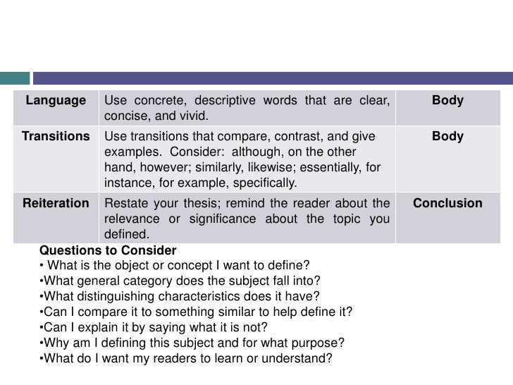 Questions to Consider<br /><ul><li>What is the object or concept I want to define?