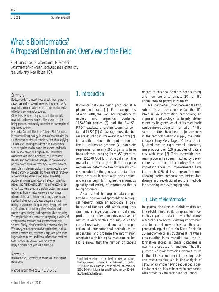 346 © 2001                                   Schattauer GmbH     What is Bioinformatics? A Proposed Definition and Overvie...