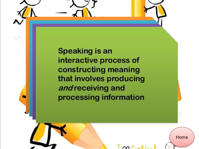 Home Speaking is an interactive process of constructing meaning that involves producing and receiving and processing infor...