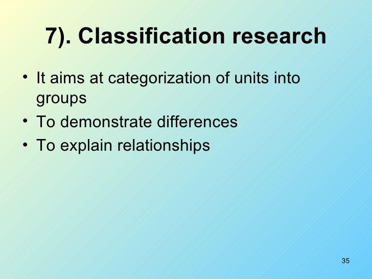 7). Classification research <ul><li>It aims at categorization of units into groups </li></ul><ul><li>To demonstrate differ...