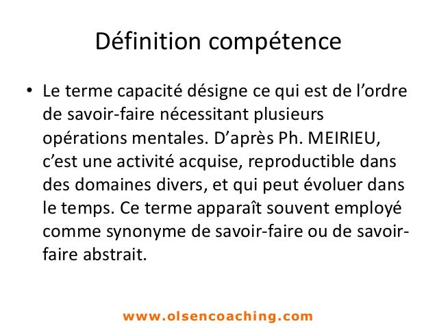 definition capacit u00e9 savoir faire