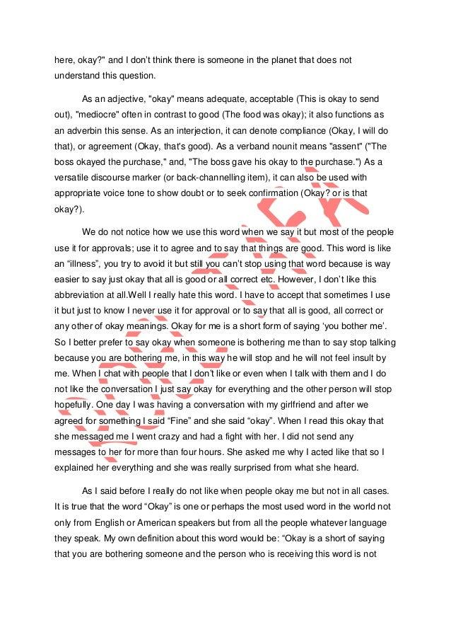 Definition essay- Word: Okay