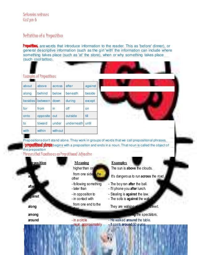 Sefuentes Welrosec Css1 Pm B INSTRUCTOR MRS CRISTINO Definition Ofa Preposition Prepositions