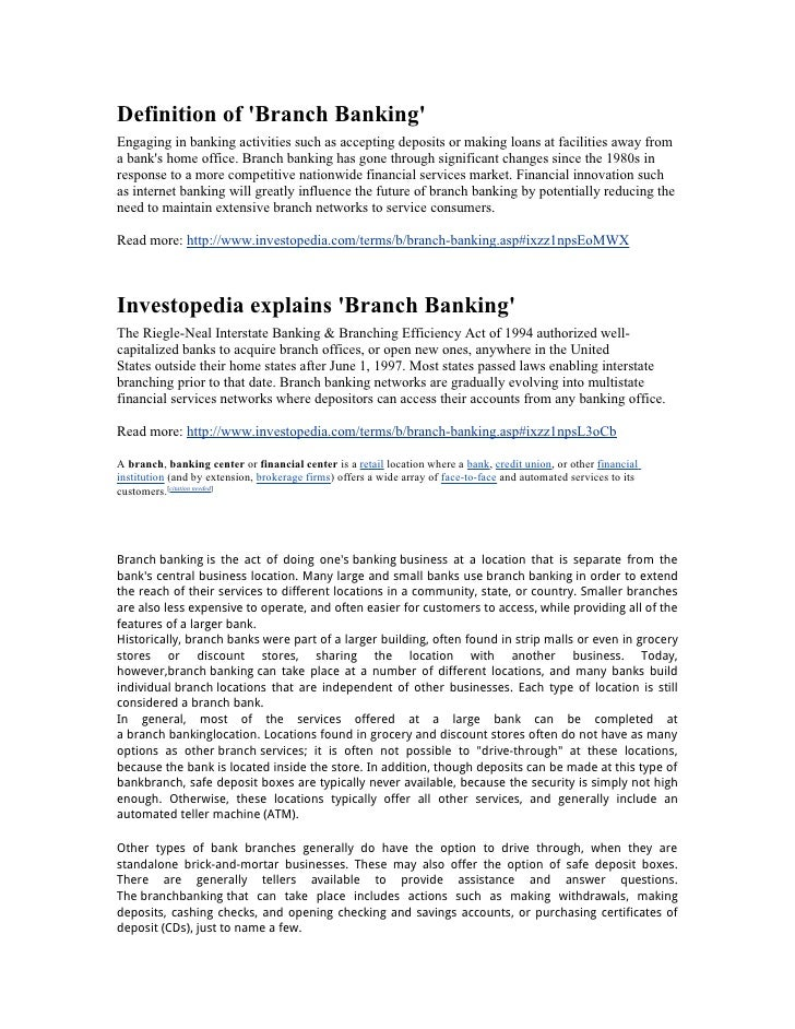 Definition O Fbranch Banking