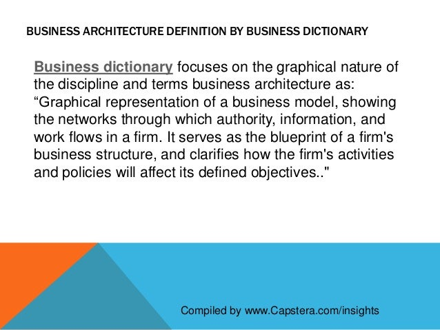 Definition of business architecture capsterainsights 4 business architecture definition by business dictionary malvernweather Image collections