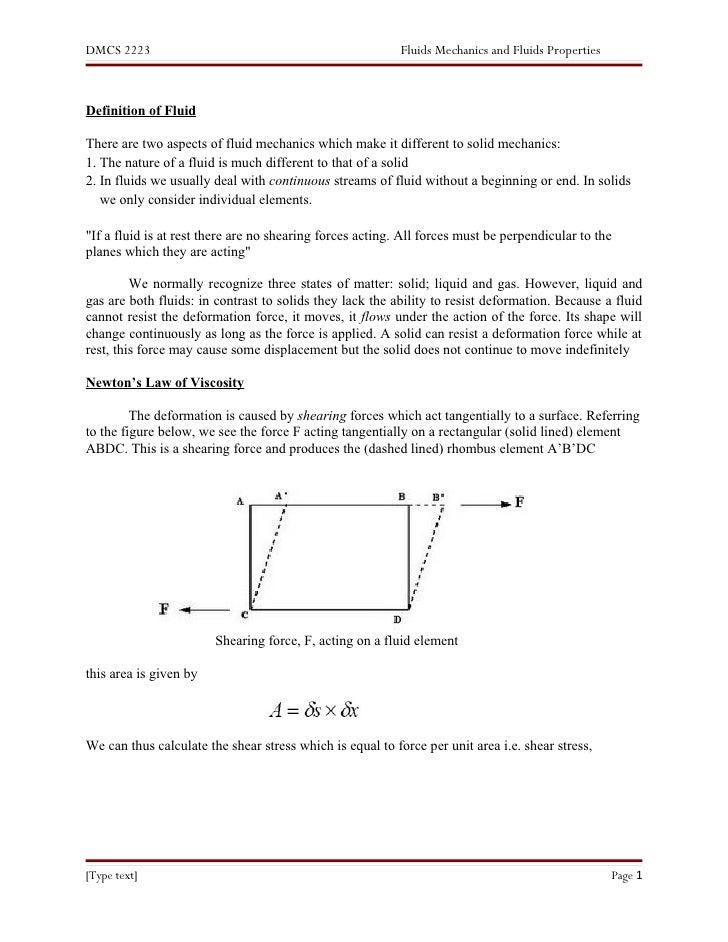 DMCS 2223                                                  Fluids Mechanics and Fluids Properties    Definition of Fluid  ...