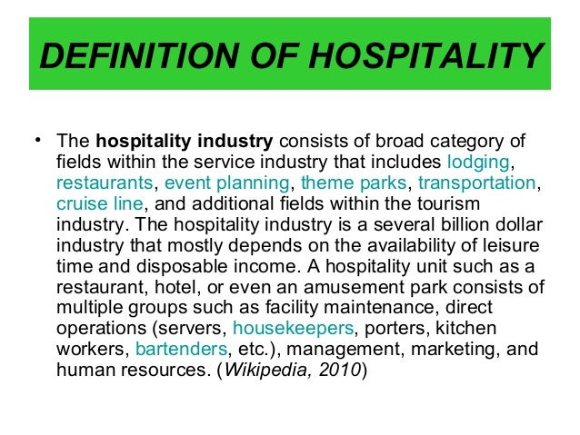classification of hospitality industry