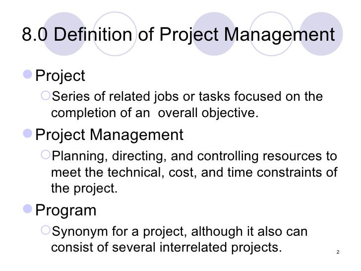 Definition of project management m4hsunfo