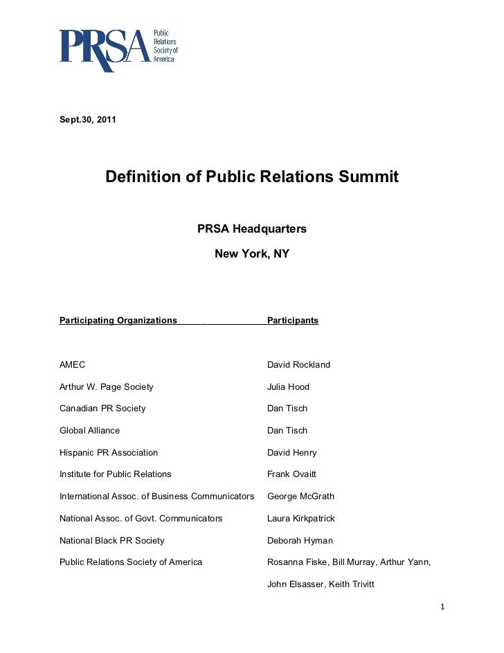 Definition of PR Summit Notes (Sept  30, 2011 Meeting)