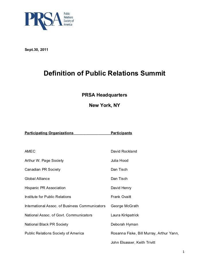 Sept.30, 2011            Definition of Public Relations Summit                                 PRSA Headquarters          ...